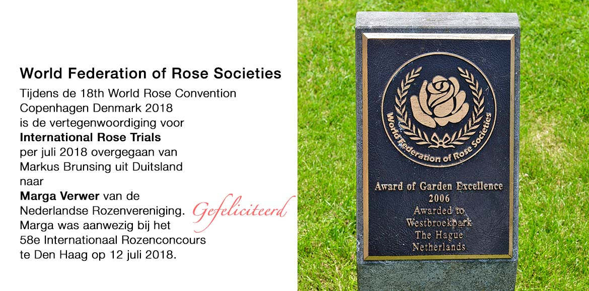 Marga Verwer - commissielid International Rose Trials per juli 2018