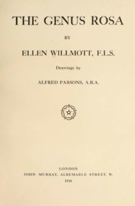 The Genus Rosa - titeltekst 1910